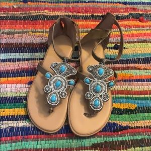 Torrid Turquoise and diamond sandals size 11